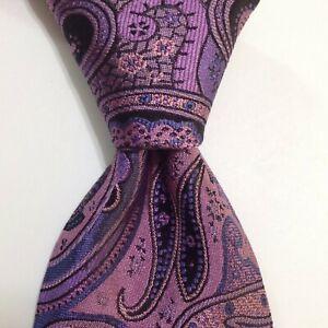 TED BAKER London Men's Silk Necktie USA Designer PAISLEY Purple/Black PERFECT