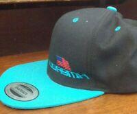USA BMX Snapback Hat, Black withTeal Blue Brim/Bill/Visor, NEW