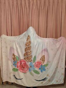 3D Unicorn Eyes Dream Horse Plush Wearable Hooded Blanket Cloak Throw,150x200cm
