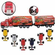 KIDS CHILDS TOY RACE CAR TRANSPORTER TRUCK VEHICLE TRAILER CAR 1:32 Scale