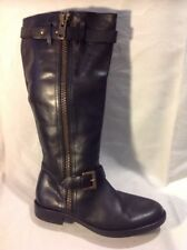 ALTA CALIDAD Black Knee High Leather Boots Size 39