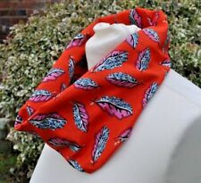 Infinity Scarf in Liberty Tana Lawn cotton 'Woven Leaves' red, pink