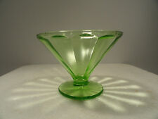 Vintage Green Vaseline Depression Sherbert Paneled Glass