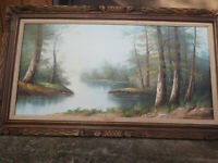 OIL PAINTING  LANDSCAPE ON CANVAS FRAMED 48X24 INCHES #2