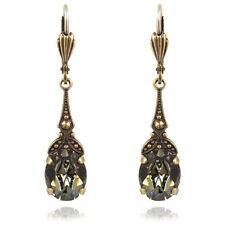 Jugendstil Ohrringe mit kristallen Von Swarovski grau - Farbe Gold Black Diamon