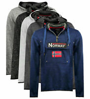 Felpa GEOGRAPHICAL NORWAY Upclass Uomo tascone cappuccio manica lunga WR300H/GN