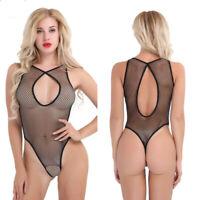 Womens Sexy Top Dress One-Piece See-Through Fishnet Bodycon Mini Clubwear Teddy