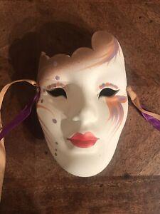 Vintage Mardi Gras Mask Art Deco Wall Decor Masquerade Ball New Orleans Signed