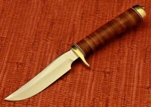 """Survival knife Leather Stacked Handle (9"""")by O.E. COLLECTION"""