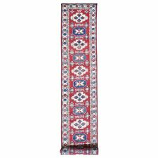 """2'8""""x20' Red Kazak Pure Wool XL Runner Tribal Design Hand Knotted Rug R48005"""