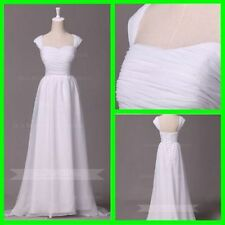 Crystal/Diamante Chiffon Cap Sleeve Wedding Dresses
