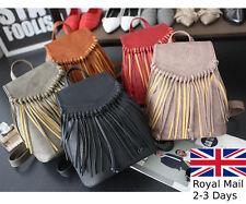 Women Leather Tassel Fringe Backpack Shoulder Bag Rucksack Handbag Satchel