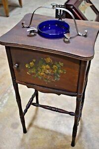 Antique Copper-Lined Smoke Stand, Tobacciana Humidor, Cushman