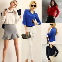 Women Chiffon Casual Blouse Shirt Tops Summer Lady Long Sleeve Fashion Blouse