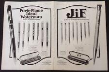 "1925 French Print Ad Waterman Pen, Jif Pencil 15 3/4"", L'Illustration Magazine"