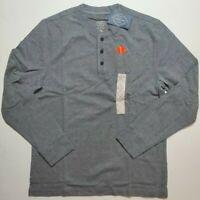 St Johns Bay Men's Gray Heather Long Sleeve Henley Shirt M L XL NWT SHIPS FAST