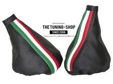 For Alfa Romeo 156 03-05 Gear & Handbrake Gaiter Black Leather Italian Stripes