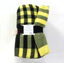 Victoria's Secret PINK Plaid Fringe Tailgate Throw Blanket Yellow & Black