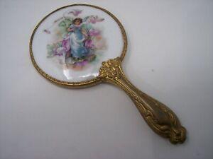 Vintage Gilded Porcelain painted back small size hand mirror Art Nouveau handled