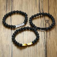 Natural Lava Stone Beaded Men Bracelet Arrow Essential Oil Diffuser Wristband