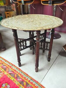 Vintage Bernares table bass with brass charger top