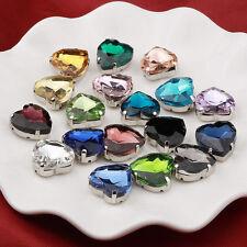 50pcs Sew On rhinestone 10mm heart crystal cabochons point back cut glass diy