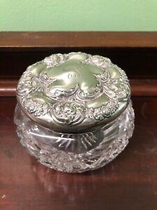 Estate Find Antique Sterling Lid Crystal Jar