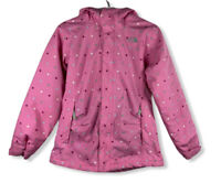 The North Face Girl's Pink Polka Dot Hyvent Coat Fleece Lined Jacket Size Lg