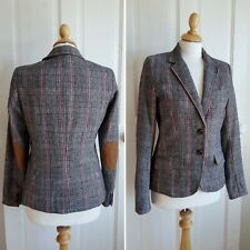 H&M Country Check Blazer Jacket UK 8 EUR 36 Plaid Elbow Patches Navy & Brown