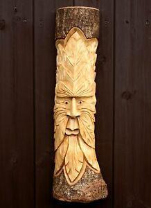 Green Man Wood Log Carving Plaque Wall Hanging Decor Hand Carved 50cm Wizard