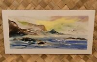 "ACRYLIC SEASCAPE OCEAN BEACH SURF PAINTING ON CANVAS 8""X16"" SIGNED SHERLOCK"
