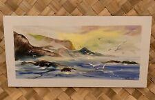 "ACRYLIC SEASCAPE OCEAN BEACH SURF PAINTING ON CANVAS 8""X16"" SIGNED SHERLOCK"