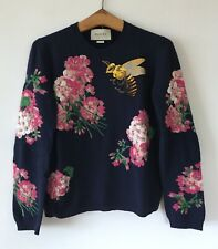 Gucci Navy Blue Embroidered Wool Floral Bee Sweater Jumper