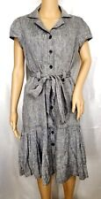 Vintage Nue By SHANI Pin Up Shirt 10 Retro Trench Coat Dress Coat Gray Black