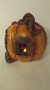 New LED Lighted Resin Pumpkin Gnome House 2348980 Orange Pumpkin