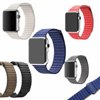 For Apple Watch Series 4 44mm 40mm Magnetic Genuine Leather Loop Strap Band