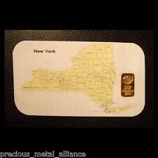 NEW YORK GOLD.999 PURE COA 10 GRAIN 24K BULLION BAR FREE 5 GR SILVER