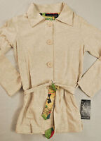 women's Ava & Grace jacket size small cream button front collar long sleeve cott