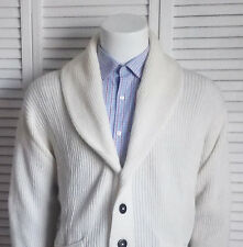 NEW Mens SIZE M ALPACA Ivory White Ribbed Shawl Collar Cardigan Sweater PERU