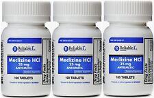Meclizine 25 mg Generic Bonine Motion Sickness 100 Chew Tablets PACK of 3