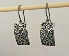 Silpada 925 Sterling Silver Filigree Scroll Heart Rectangle  Earrings W1517 Rare
