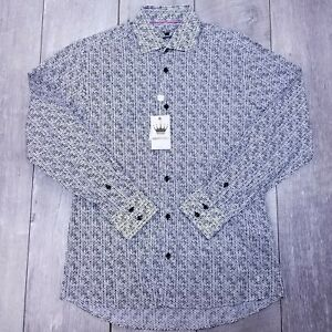 Bertigo Button Up Shirt Mens Medium Black Cotton Polka Dot Long Sleeve LB212