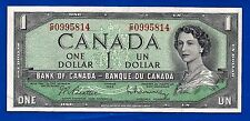 CANADA 1954 Canadian one 1 DOLLAR BILL NOTE prefix  C/P fairly crisp EF-AU