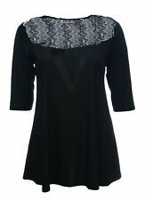 Ladies Sexy Lace Shoulder Detail Stretch Black Swing Dress / Long Top *LICK*