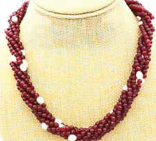 """Stunning! 6 share White Pearl & red jade faceted Gemstone Necklace 18 """""""
