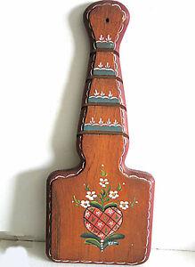 "Hand Painted Scandinavian Toleware Rosemal Wood Wall Plaque Heart 14.5"" FREE SH"