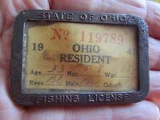Vintage 1941 OhioFishing License / Pinback Badge w/ Paperwork