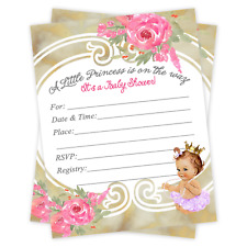 Baby Shower Invitations Tutu Princess Ballerina Invite Girl Gold Princess  Qty 30
