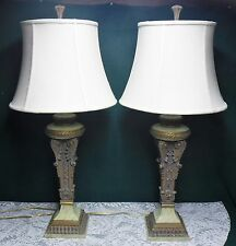 Pair Traditional Neoclassical Resin Table Lamps Lights 3- way Switch w/ Shades