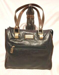 Capezio Black Leather Purse - Black with Gold Hardware